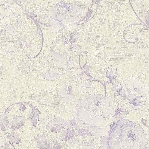 Non-woven wallpaper big flowers cream violet 37224-5