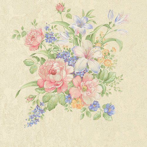 Non-woven wallpaper flower bouquet cream green 37225-1 online kaufen