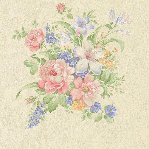 Vliestapete Blumenbouquet creme grün rosa 37225-1 online kaufen