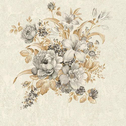 Non-woven wallpaper flower bouquet cream brown 37225-3 online kaufen
