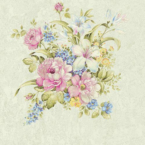 Vliestapete Blumenbouquet grüngrau grün pink 37225-5 online kaufen