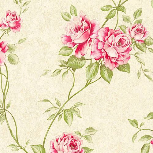 Non-woven wallpaper rosebuds cream green pink 37226-1 online kaufen
