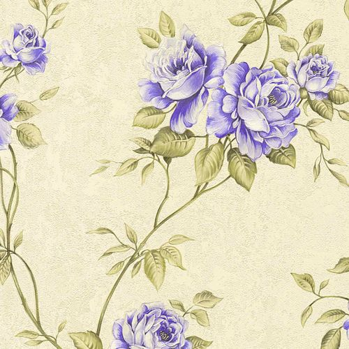 Non-woven wallpaper rosebuds cream green purple 37226-5 online kaufen