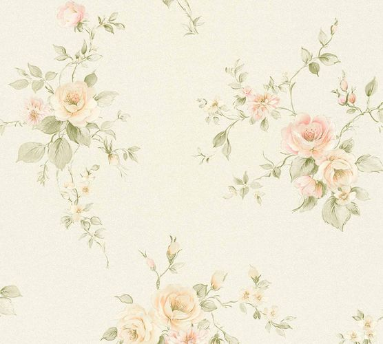 Non-woven wallpaper rose petals cream green rose 3723-07 online kaufen
