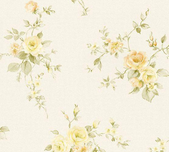 Vliestapete Rosenblüten creme grün orange 3723-21 online kaufen