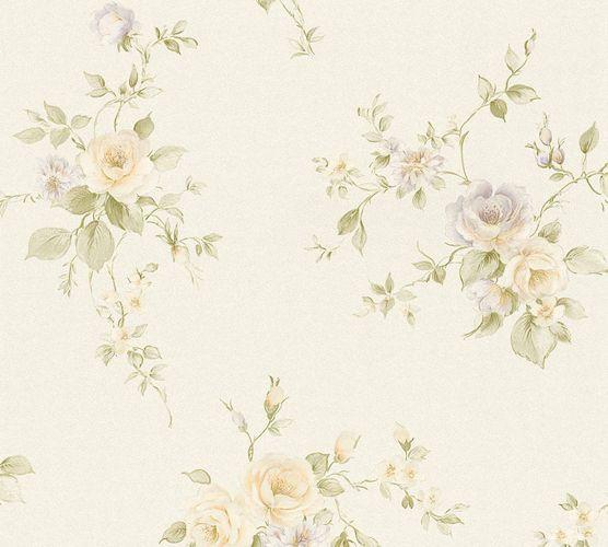 Vliestapete Rosenblüten creme grün violett 3723-45 online kaufen