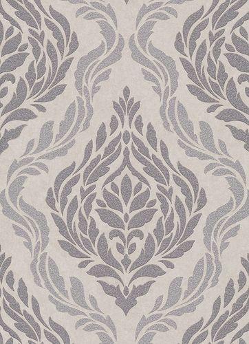 Baroque ornaments non-woven wallpaper taupe grey 10060-02