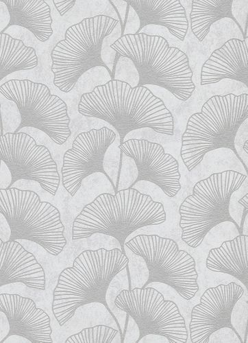 Leaves non-woven wallpaper creamgrey silver 10064-31