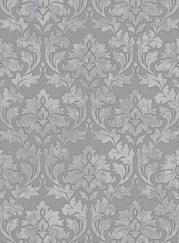 Vliestapete Barock dunkelgrau weiß Glitzer 10070-34