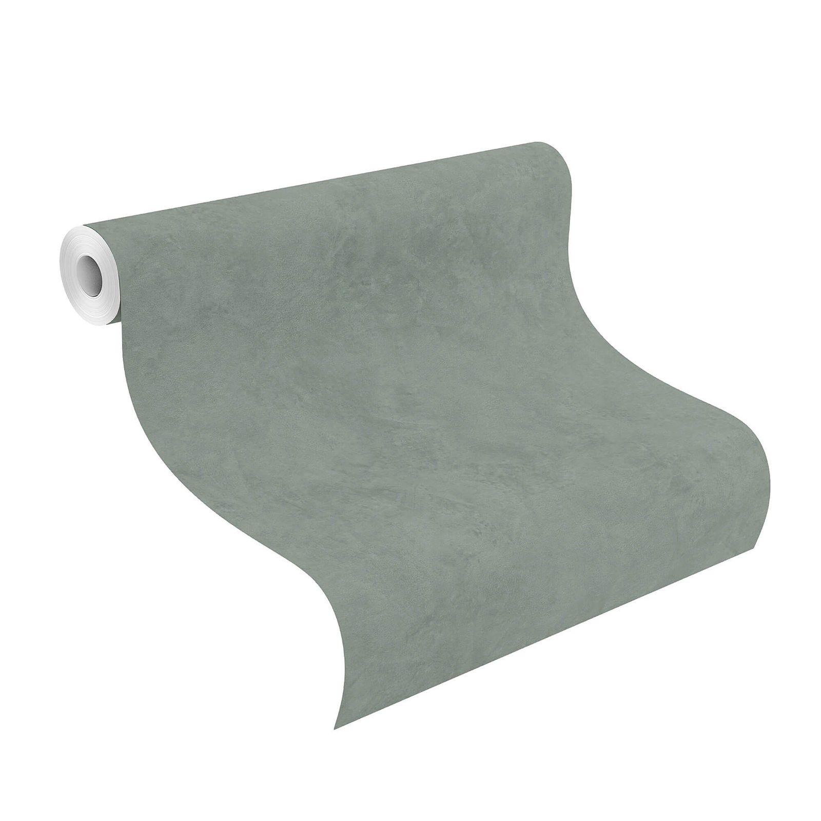 Vliestapete Rasch Beton-Optik Uni Grau-grün 426175