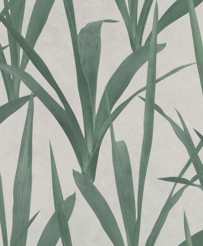 Non-woven wallpaper fine leaves lightgrey green 427028 online kaufen