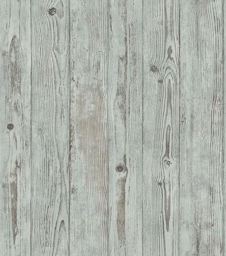 Non-woven wallpaper wooden planks green-brown 427332