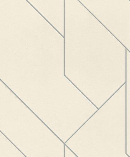 Non-woven wallpaper lines white silver metalic 427424 online kaufen