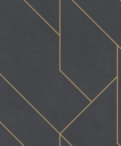 Non-woven wallpaper lines black gold metalic 427431