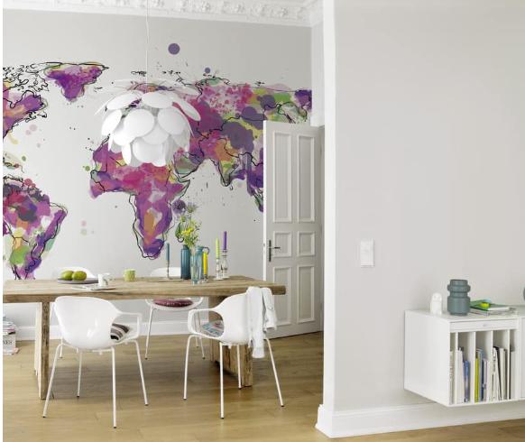 Fototapete Rasch Kruth Design Weltkarte weiß 100846