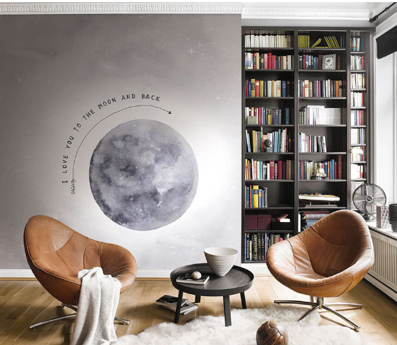 Photo Wallpaper Rasch Kruth design moon grey-blue 100914