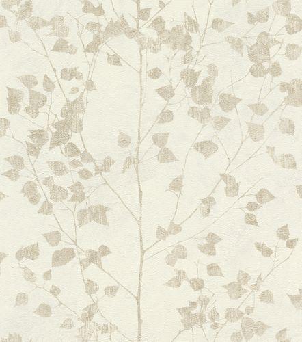 Wallpaper non-woven leaf twigs white beige 416619 online kaufen