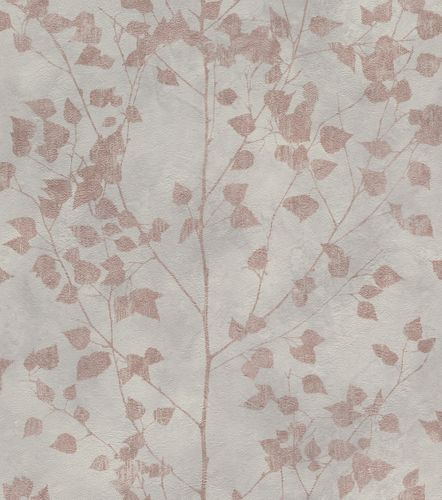 Wallpaper non-woven leaf twigs grey brown 416633