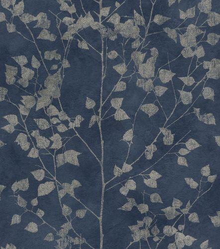 Wallpaper non-woven leaf twigs blue silver 416657 online kaufen