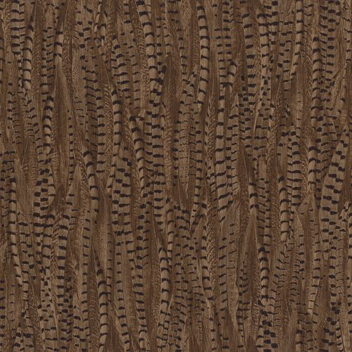 Non-woven wallpaper feather brown black 550252