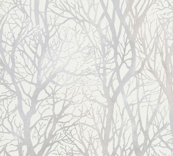 Self-adhesive wallpaper trees white silver Panel 368231