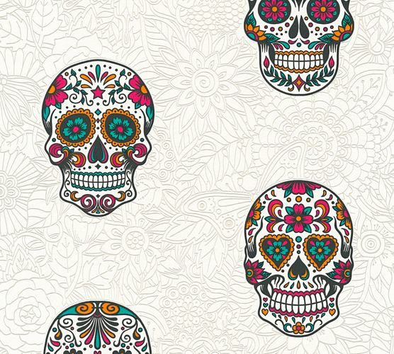 Self-adhesive wallpaper skull white colourful Panel 368282