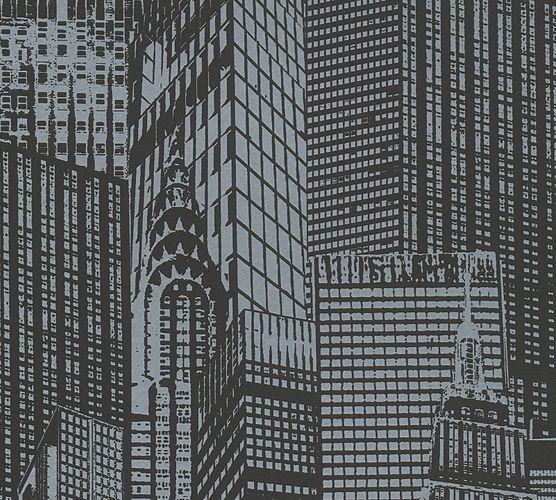 Selbstklebende Tapete Häuser schwarz grau Panel 955671