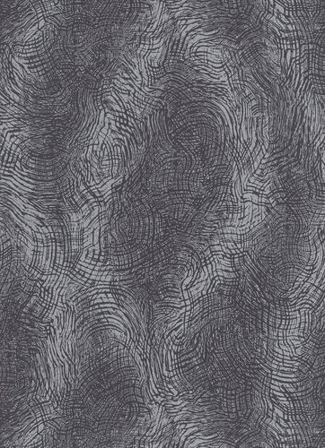 Non-woven wallpaper swirl pattern black 10082-10