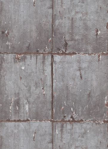 Non-woven wallpaper industrial wall grey 10084-10