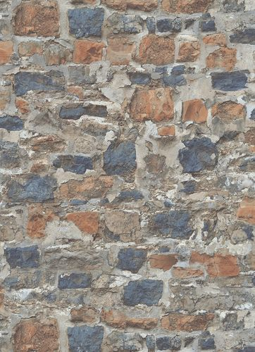 Non-woven wallpaper stone wall orange 10092-04