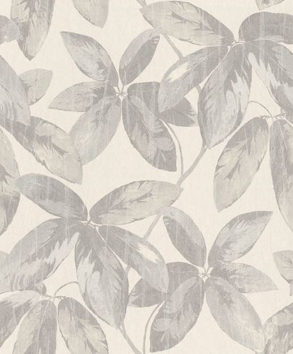 Non-Woven Wallpaper Leaves Vintage grey Gloss 298658