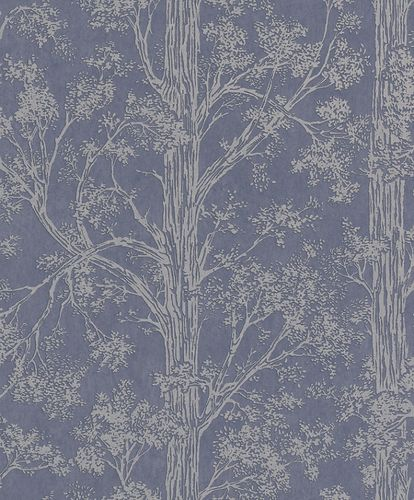 Non-Woven Wallpaper Trees blue grey Metallic 298818 online kaufen