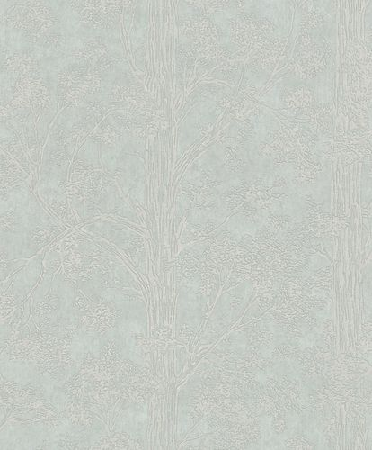 Non-Woven Wallpaper Trees grey green Metallic 298825