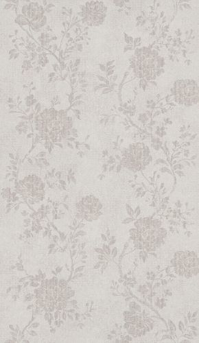 Non-Woven Wallpaper Flowers grey beige Metallic 298917