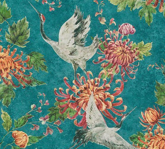 Vliestapete Blumen Vogel blau rot Asian Fusion 37464-1