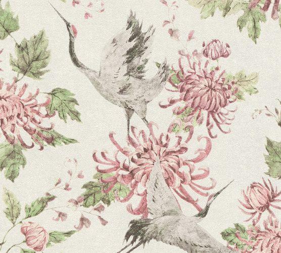 Non-Woven Wallpaper Flowers Bird grey pink 37464-2