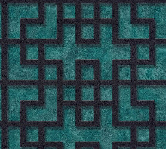 Non-Woven Wallpaper Grid Pattern turquoise Gloss 37465-1 online kaufen