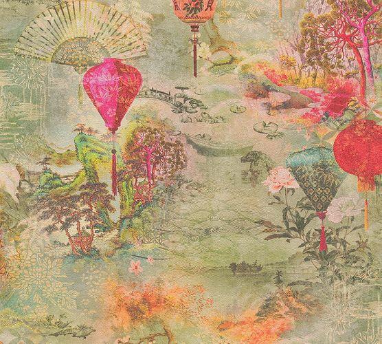 Non-Woven Wallpaper Lanterns Fans green red 37466-1 online kaufen