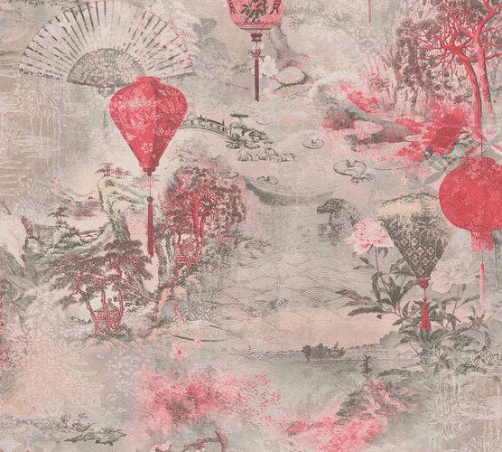 Non-Woven Wallpaper Lanterns Fans grey red 37466-2 online kaufen