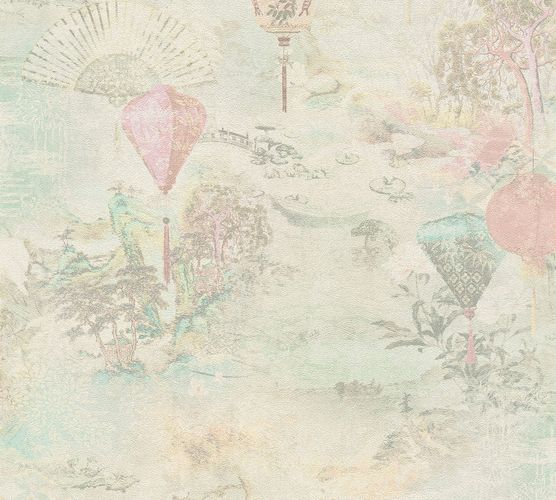 Non-Woven Wallpaper Lanterns Fans blue pink 37466-3