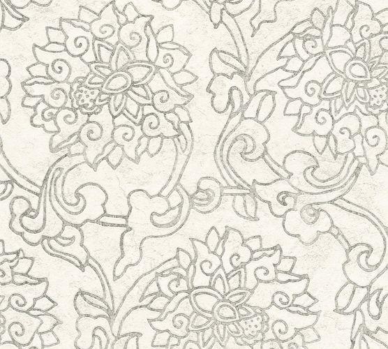 Non-Woven Wallpaper Flowers grey Metallic 37470-2 online kaufen
