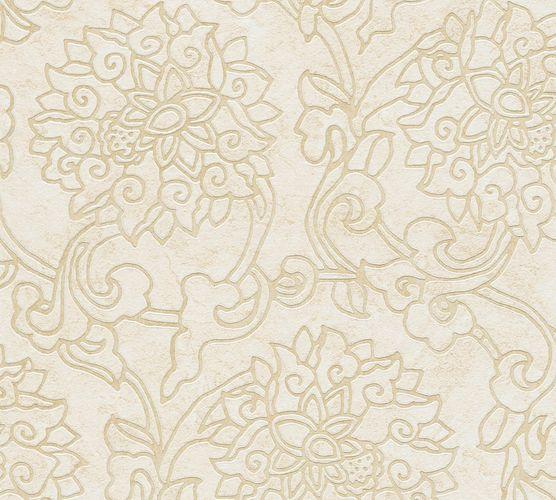 Non-Woven Wallpaper Flowers beige Metallic 37470-3