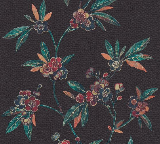 Non-Woven Wallpaper Blossoms black red Metallic 37472-1 online kaufen