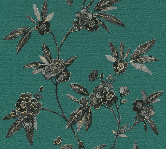 Vliestapete Floral Blüten grün schwarz Metallic 37472-2