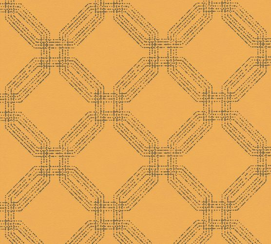 Non-woven wallpaper graphic modern yellow 37477-5