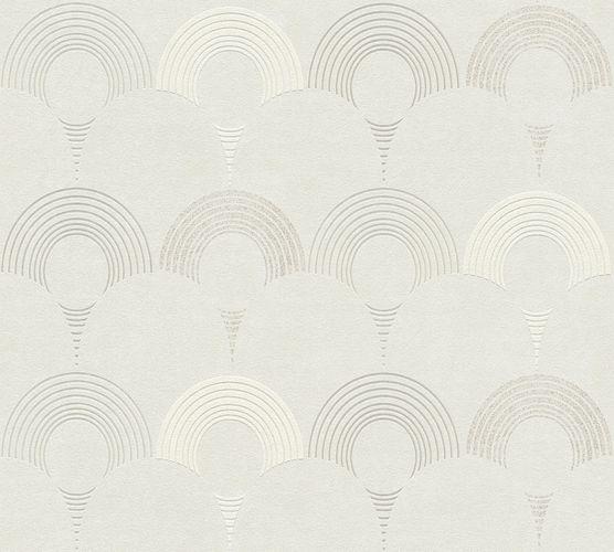 Non-woven wallpaper semicircles greige 37480-1 | 374801