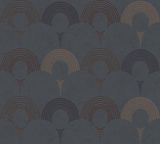 Non-woven wallpaper semicircles black 37480-2 | 374802