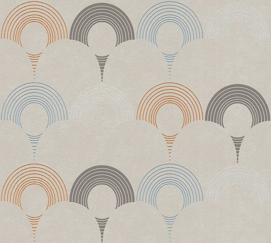 Non-woven wallpaper semicircles greige 37480-3 | 374803