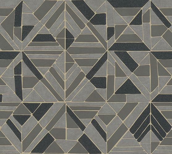 Non-woven wallpaper graphical forms gold grey 37481-4 online kaufen