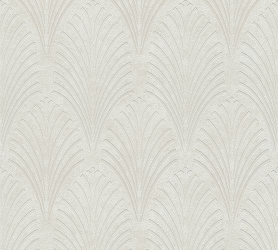 Non-woven wallpaper art deco pattern greywhite 37482-1